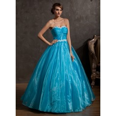 Ball-Gown Sweetheart Floor-Length Organza Quinceanera Dress With Ruffle Appliques Lace (021014937)