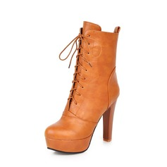 Women's PU Stiletto Heel Pumps Platform Boots Mid-Calf Boots With Lace-up shoes (088145106)