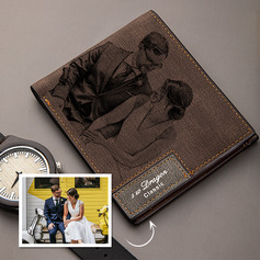Personalized Mens Custom Engraved Photo Engraved Father's Day Gifts Leather Wallet (200235245)
