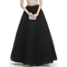 Ball-Gown Floor-Length Tulle Prom Dresses With Beading