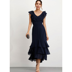 A-Line V-neck Ankle-Length Chiffon Cocktail Dress With Cascading Ruffles (016208439)