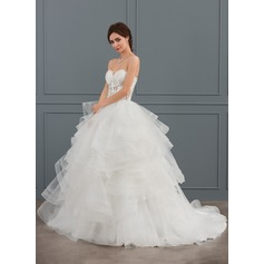 Ball-Gown Sweetheart Court Train Tulle Wedding Dress With Beading