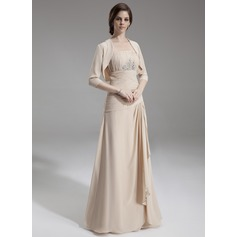 A-Line/Princess Strapless Floor-Length Chiffon Mother of the Bride Dress With Beading Cascading Ruffles