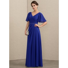 A-Line/Princess V-neck Floor-Length Chiffon Mother of the Bride Dress With Beading Sequins