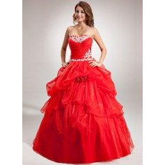 Ball-Gown Sweetheart Floor-Length Organza Quinceanera Dress With Ruffle Appliques Lace Flower(s)