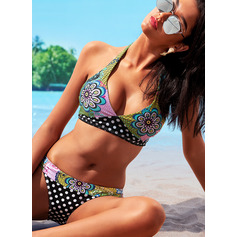 Plus Size Beautiful Floral Polyester Spandex Bikinis (202228234)