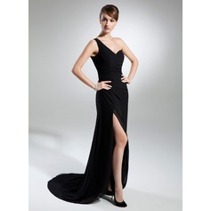 Sheath/Column One-Shoulder Sweep Train Chiffon Evening Dress With Ruffle Split Front