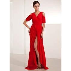 Sheath/Column V-neck Sweep Train Chiffon Evening Dress With Ruffle Split Front