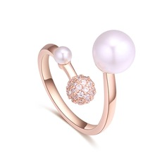 Fashional Copper/Zircon/Imitation Pearls With Cubic Zirconia Ladies' Rings