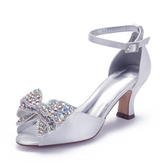 Women's Satin Chunky Heel Sandals With Bowknot Rhinestone