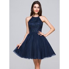 A-Line/Princess Scoop Neck Short/Mini Tulle Lace Homecoming Dress With Beading Sequins Bow(s) Pleated (022068044)
