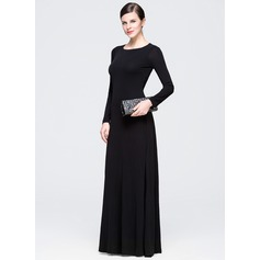 A-Line/Princess Scoop Neck Floor-Length Jersey Evening Dress With Ruffle
