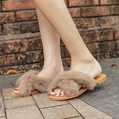 Women's Suede Flat Heel Flats Slippers With Fur shoes (087132774)