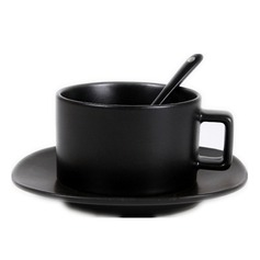 Pure Black Coffee Cup Set - Cup, Plate, Spoons