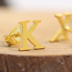 Personalized Ladies' Exquisite Gold Plated Initial Earrings For Bridesmaid/For Friends