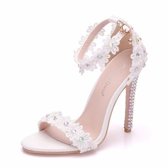 Women's Leatherette Spool Heel Peep Toe Pumps Sandals With Crystal Heel Applique