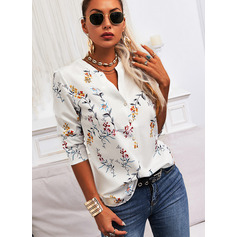 Regular Cotton Blends V-Neck Floral Print Fitted Blouses (1003257402)
