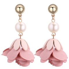 Fashional Imitation Pearls Copper Cloth Ladies' Fashion Earrings