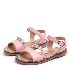 Mädchens Peep Toe Leder Flache Ferse Sandalen mit Schnalle Strass Klettverschluss Niete