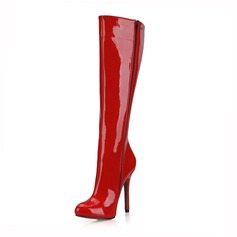 Women's Patent Leather Stiletto Heel Pumps Closed Toe Boots Knee High Boots shoes (088095424)