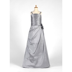A-Line/Princess Floor-Length Taffeta Junior Bridesmaid Dress With Ruffle Flower(s)