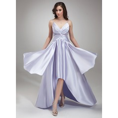 A-Line/Princess V-neck Asymmetrical Charmeuse Prom Dress With Ruffle Beading