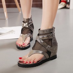 Women's Cloth Wedge Heel Sandals Wedges Peep Toe With Buckle shoes