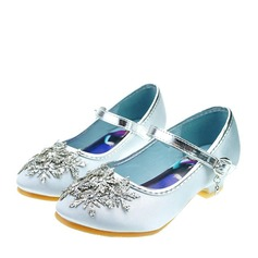 Jentas Round Toe Leather lav Heel Pumps Flower Girl Shoes med Spenne Rhinestone