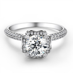 Halo Side Stones Round Cut 925 Silver Engagement Rings (303261159)