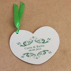 Personalized Heart-shaped Pearl Paper Invitation Cards With Ribbons