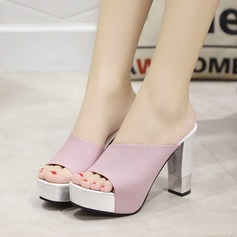 Women's PU Chunky Heel Sandals Pumps Platform Slippers With Jewelry Heel shoes