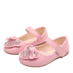 Girl's Round Toe Closed Toe Leatherette Flat Heel Flats With Bowknot Sparkling Glitter Velcro