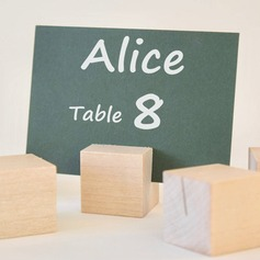 4pcs - Wooden Cube Wedding Place Card Holder Party Decoration