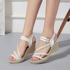 Women's Canvas Wedge Heel Sandals Wedges Peep Toe Slingbacks With Buckle shoes