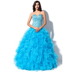 Ball-Gown Sweetheart Floor-Length Organza Quinceanera Dress With Beading Sequins (021055197)