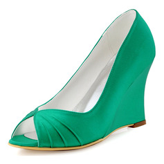 Women's Silk Like Satin Wedge Heel Peep Toe Wedges With Ruffles