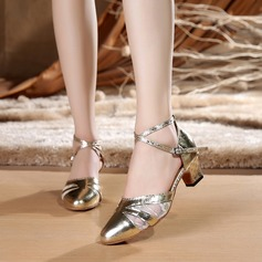 Women's Lace Heels Sandals Ballroom With Ankle Strap Dance Shoes