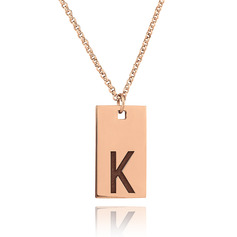 Custom 18k Rose Gold Plated Initial Necklace Engraved Necklace Nameplate - Birthday Gifts Mother's Day Gifts