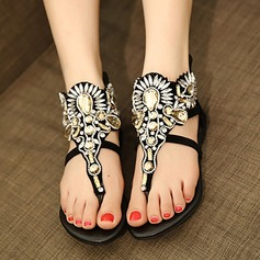 Women's Suede Flat Heel Sandals Flip-Flops Slippers With Rhinestone shoes