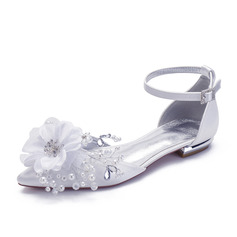 Women's Satin Flat Heel Pumps With Rhinestone Flower