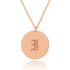 Custom 18k Rose Gold Plated Silver Engraving/Engraved Old English Initial Necklace - Birthday Gifts Mother's Day Gifts