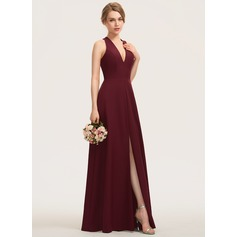 A-Line V-neck Floor-Length Stretch Crepe Bridesmaid Dress With Split Front