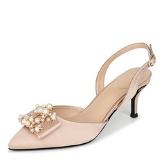 Women's Silk Like Satin Stiletto Heel Closed Toe Slingbacks With Buckle Pearl