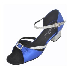 Kids' Satin Heels Sandals Latin With Rhinestone Ankle Strap Dance Shoes