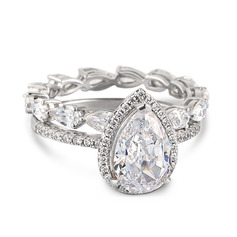 Sterling Silver Cubic Zirconia Dainty Vintage Pear Cut Engagement Rings Bridal Sets (289225420)