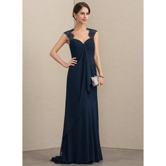 Empire Sweetheart Sweep Train Chiffon Lace Mother of the Bride Dress With Cascading Ruffles