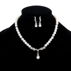 Beautiful Alloy Rhinestones Imitation Pearls With Rhinestone Imitation Crystal Jewelry Sets
