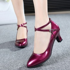 Women's Patent Leather Pumps Ballroom With Ankle Strap Dance Shoes