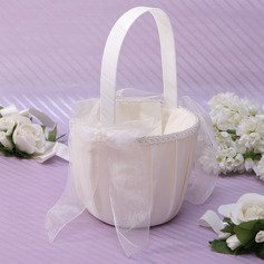 Elegant Flower Basket in Satin With Bow (102037352)