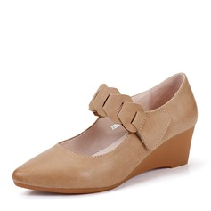 Women's Real Leather Wedge Heel Closed Toe Wedges shoes